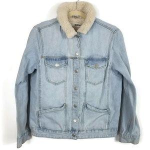 Topshop Moto Lined Denim Jacket Size 6 0247 EUC